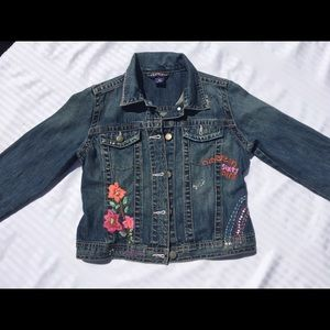 Girls Denim Embroidered Jacket/Coat